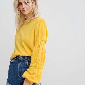 NWT ASOS Yellow Puff Sleeve Sweatshirt